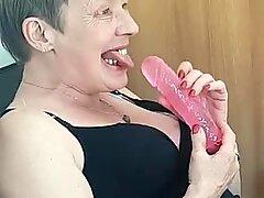 Deutch Granny Suck a Dildo Empty Mouth