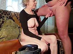 Rusian gråhårig mager mormor gör alltid cums på tuttar