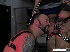 Mature bear assfucked in chains before facial