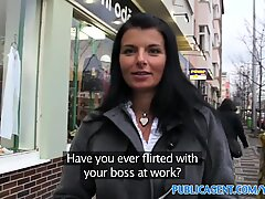 PublicAgent Hot brunette MILF with great tits outdoors sex